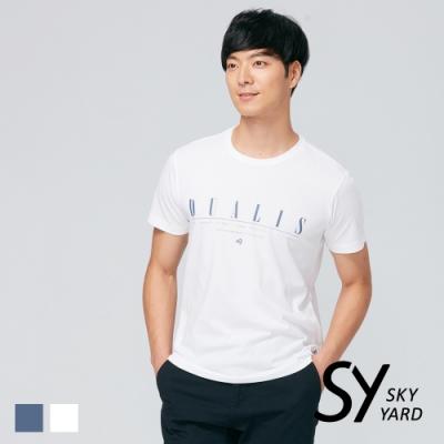 【SKY YARD 天空花園】簡約字體插圖休閒圓領T恤-白色