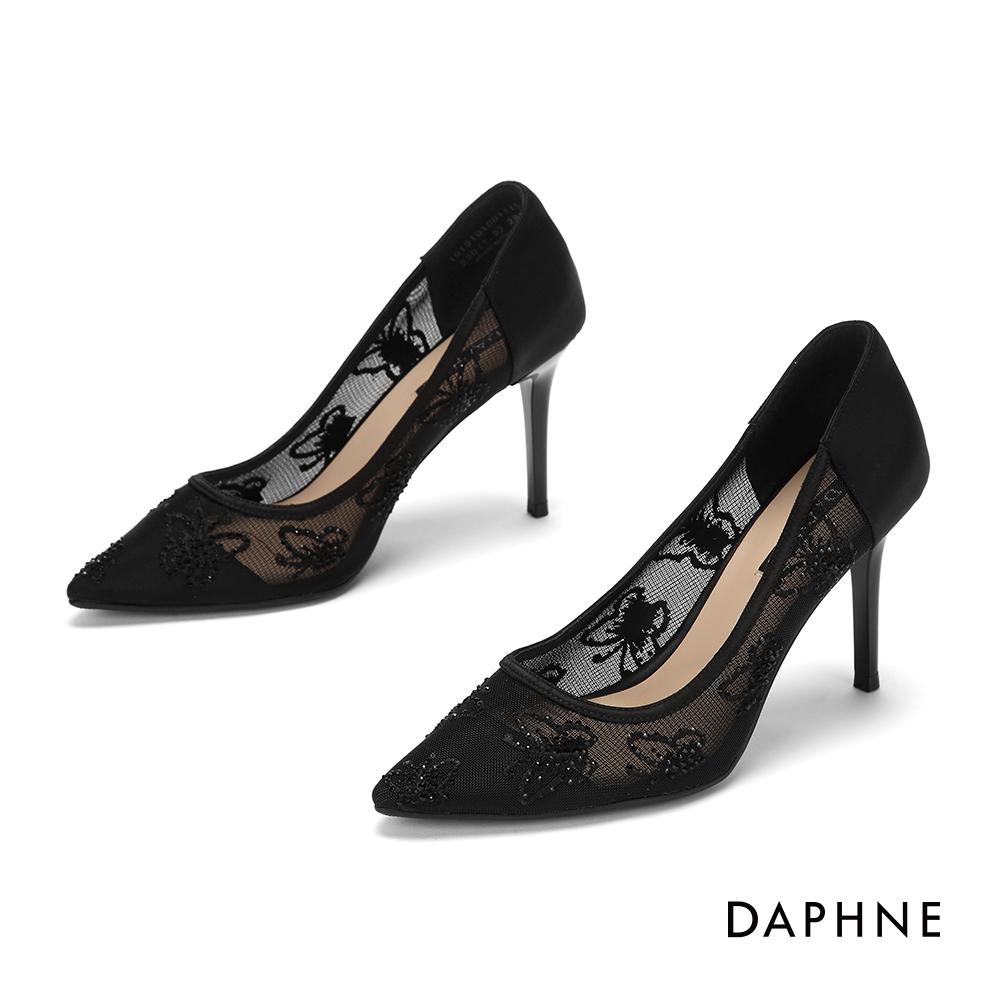 達芙妮DAPHNE 高跟鞋-異材質拚接透膚網紗晶鑽尖頭高跟鞋-黑