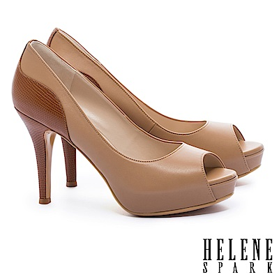 高跟鞋 HELENE SPARK 都市時尚剪裁拼接魚口美型高跟鞋-米