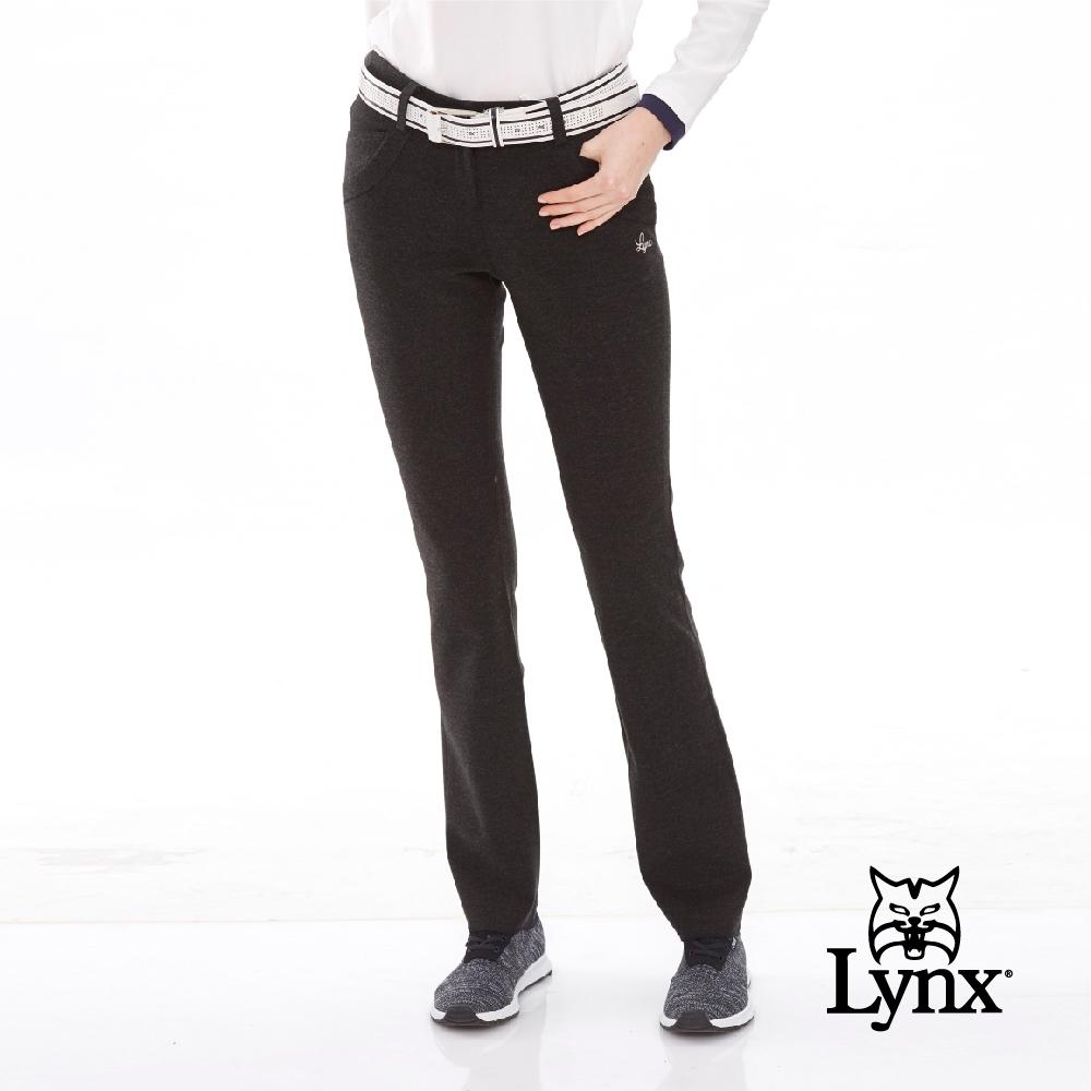【Lynx Golf】女款口袋撞釘配色質感毛料休閒長褲-黑色