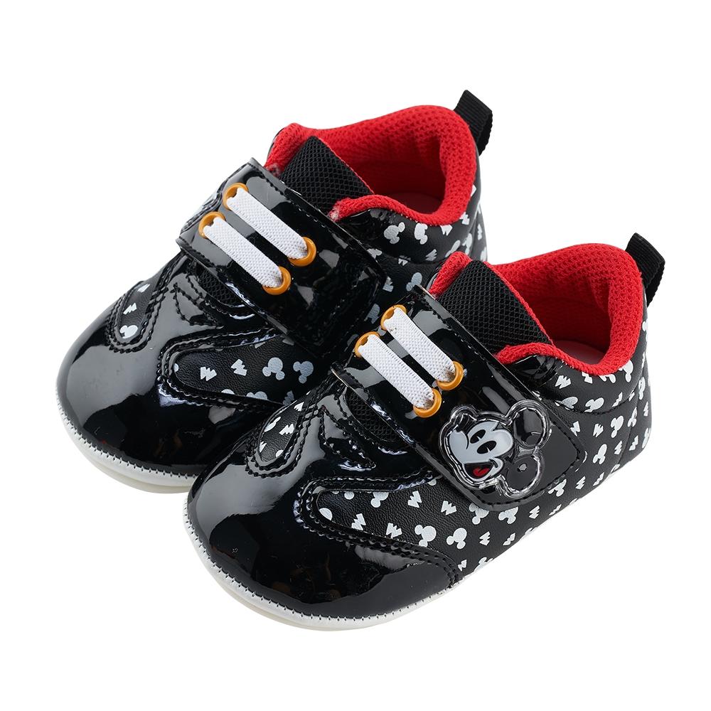 迪士尼童鞋 米奇 質感亮皮革寶寶學步鞋-黑
