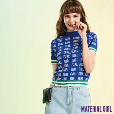 MATERIAL GIRL 小高領滿印針織衫 修身短版型 【91409】