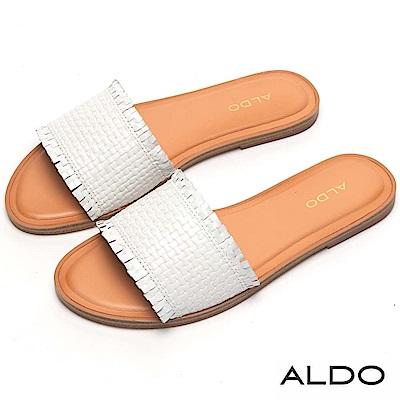 ALDO 原色真皮交叉編織寬版鞋面低跟涼鞋~清新白色
