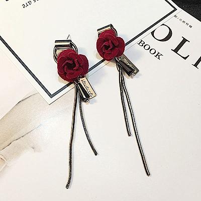 梨花HANA  韓國性感女人香玫瑰絨質流蘇耳環