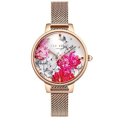 Ted Baker 魅力女伶花漾米蘭帶手錶-玫瑰金框/32mm