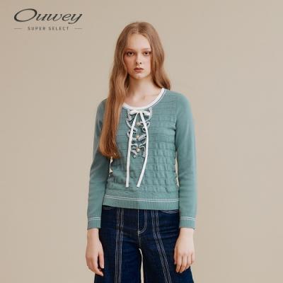 OUWEY歐薇 學院風波紋針織衫(粉/綠)