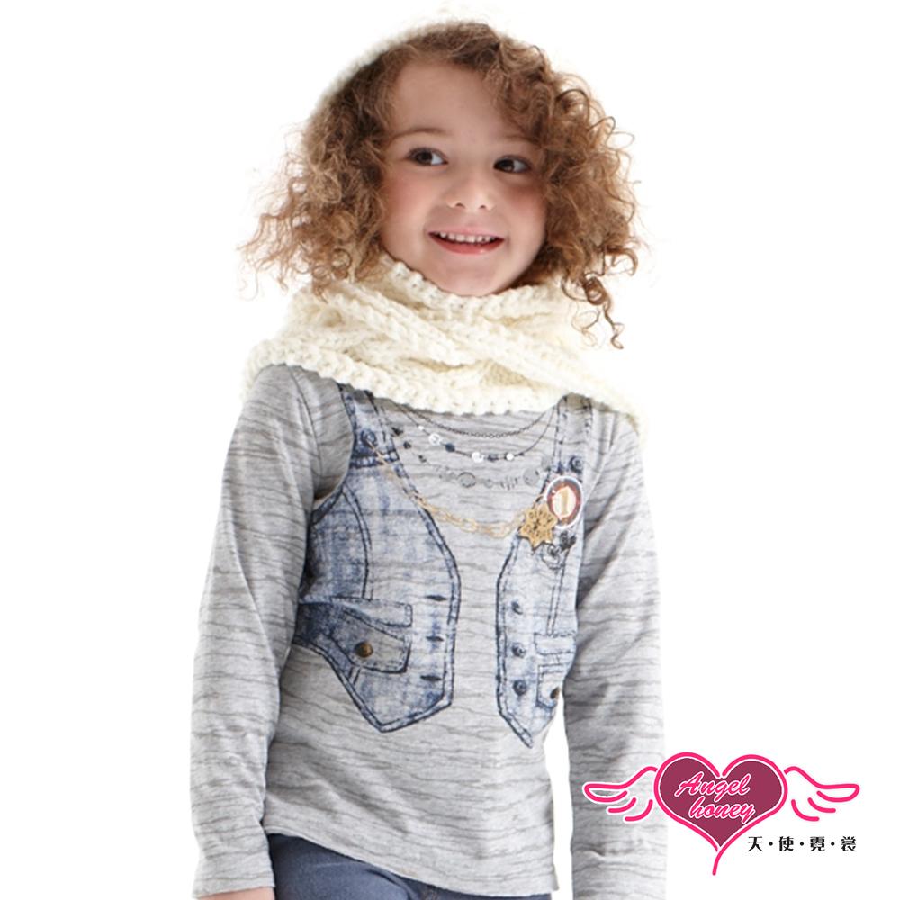 天使霓裳 趣味背心 塗鴉假兩件長袖T恤童裝上衣(灰)