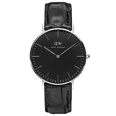 DW手錶 官方旗艦店 36mm銀框 Classic Black 爵士黑真皮皮革手錶