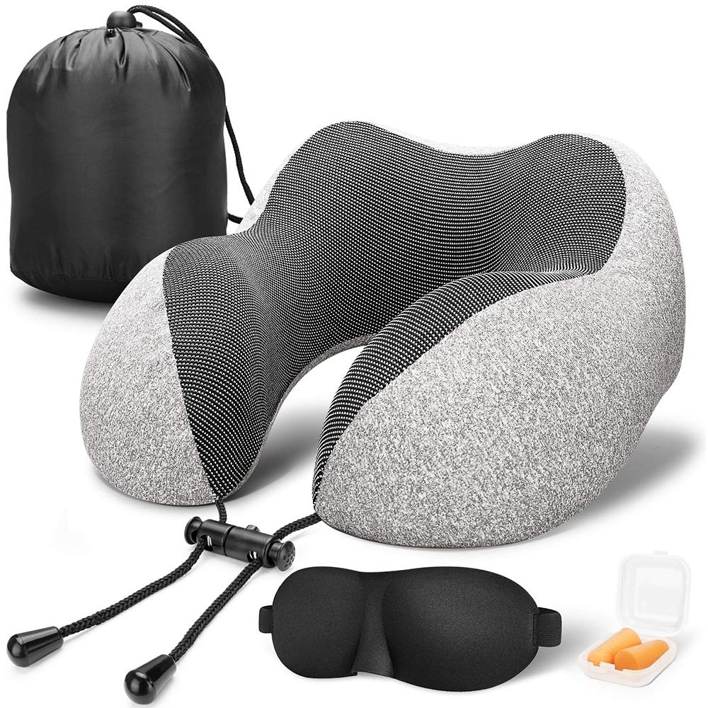 Flymate MDI記憶護頸枕 清涼感面料透氣排汗 慢回彈記憶棉U型枕 超小收納