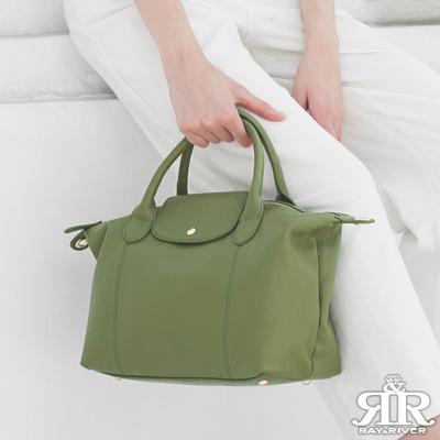 2R 頭層牛皮Jean法式簡約兩用變形包 原野青綠