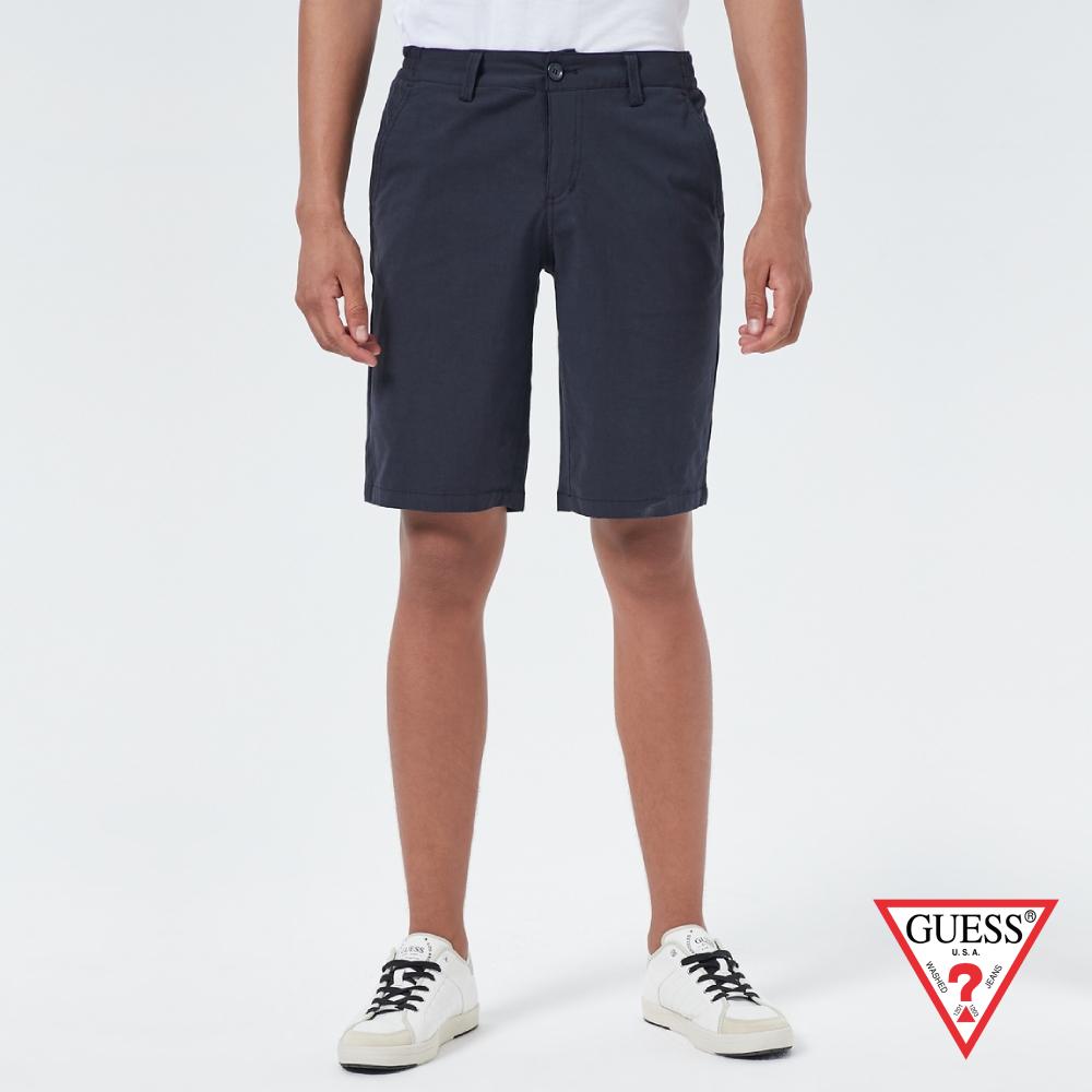 GUESS-男裝-純色微彈直筒休閒短褲-藍