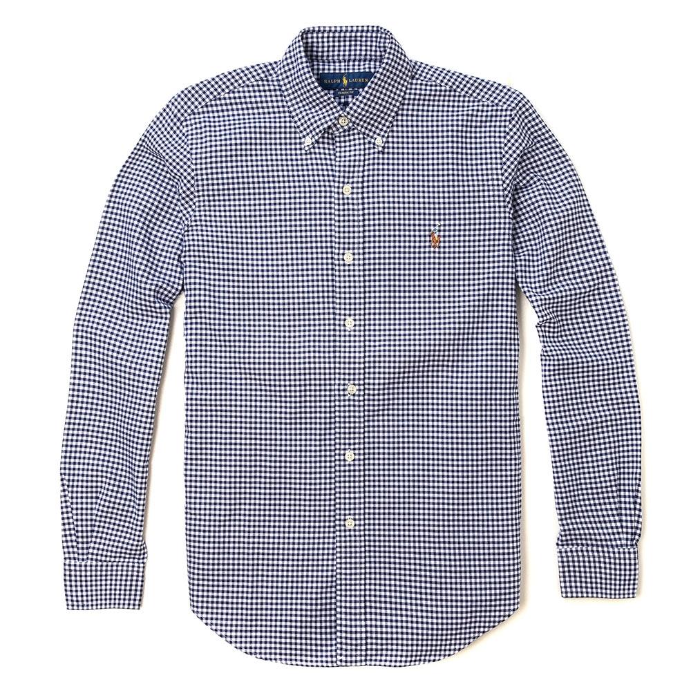 Polo Ralph Lauren 經典刺繡小馬長袖襯衫-深藍白格紋色