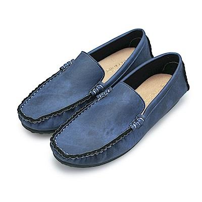 BuyGlasses 渲染手縫雅痞懶人鞋豆豆鞋-藍