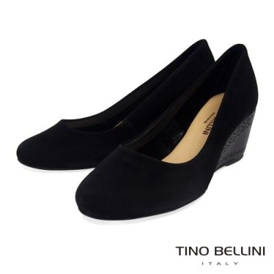 Tino Bellini 巴西進口典雅圓頭雕花跟鞋_黑