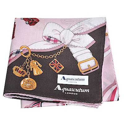 Aquascutum 品牌穿鍊吊飾圖騰字母LOGO帕領巾(粉紅/咖啡)