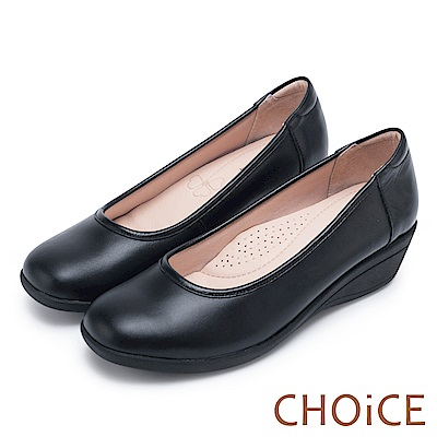 CHOiCE 舒適簡約 素面質感牛皮坡跟鞋-黑色