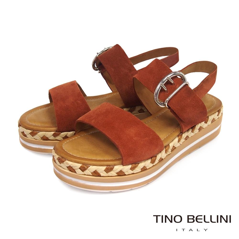 Tino Bellini 牛麂皮雙釦帶草編厚底涼鞋-紅棕