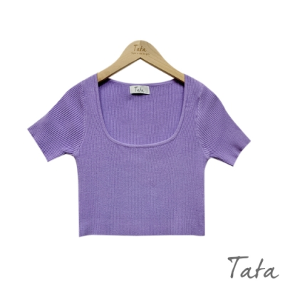 大U領坑條短版針織上衣 共四色 TATA-F
