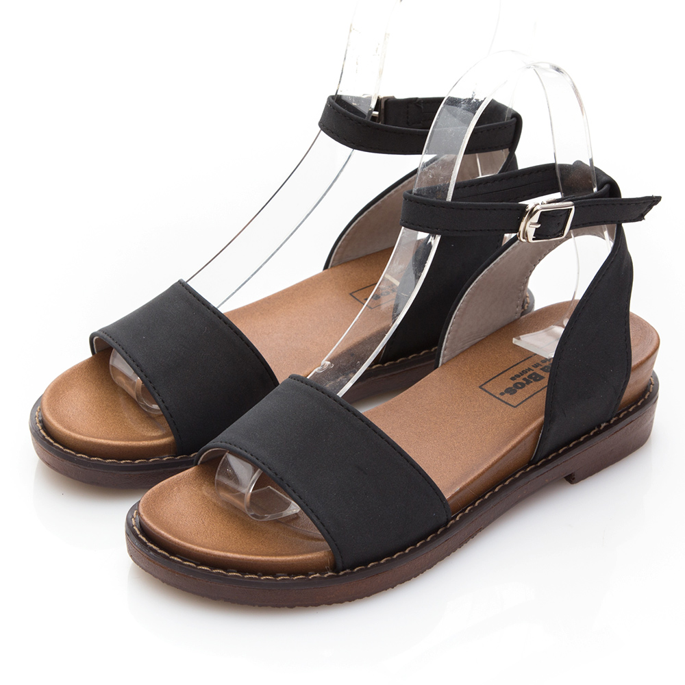 Camille's 韓國空運-簡約一字繞帶平底涼鞋-黑色