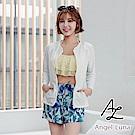 【AngelLuna日本泳裝】黃色荷葉水母衣外套四件式比基尼泳衣