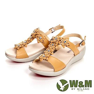 W&M 輕量彈力花鑽增高涼鞋 女鞋-花鑽黃(另有花鑽紫)