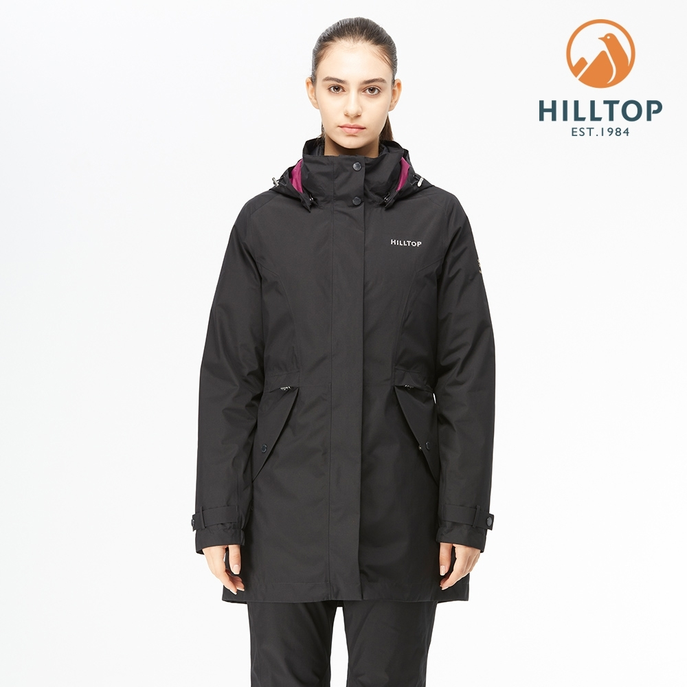 【hilltop山頂鳥】女款GORE-TEX防水透氣2合1羽絨短大衣F22F05黑美人