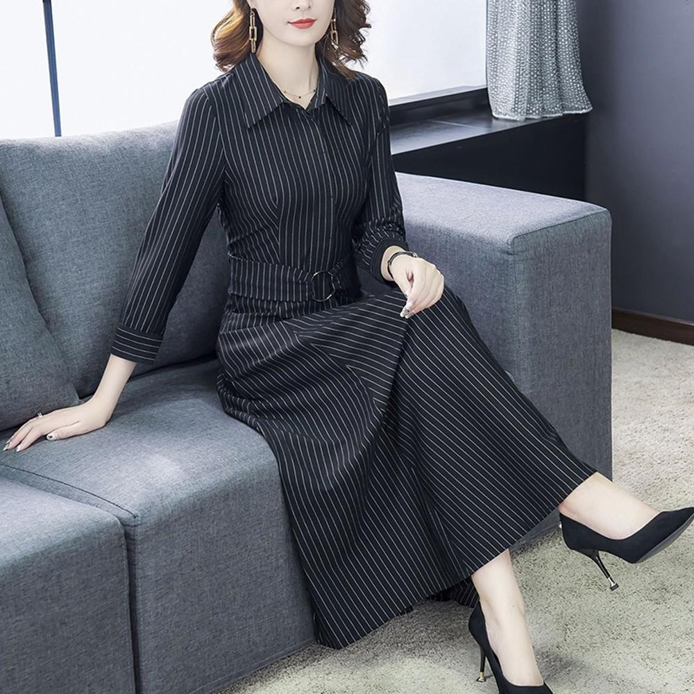都會時尚黑色條紋襯衫長洋裝S-3XL-REKO