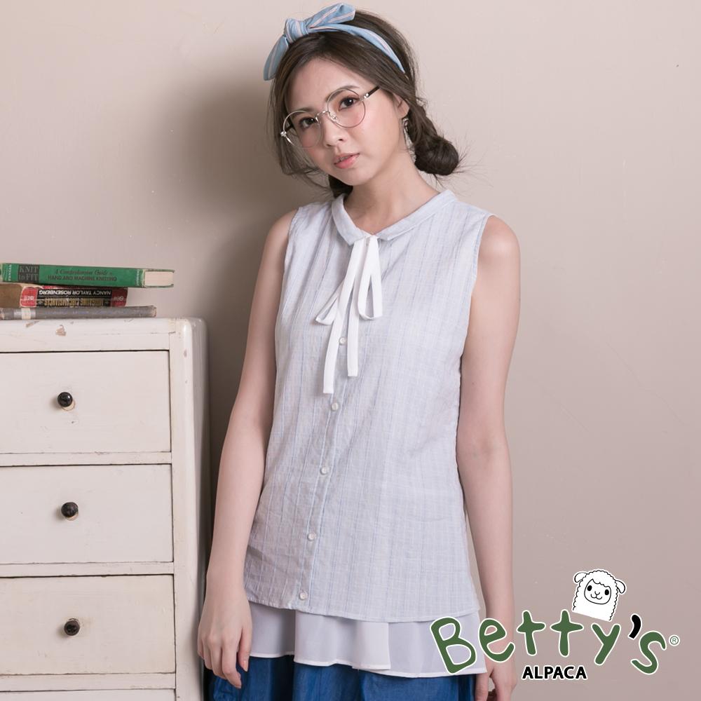 betty's貝蒂思 小立領格紋雪紡拼接假兩件背心(淺藍) @ Y!購物