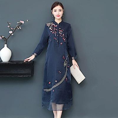 深藍復古刺繡花飄逸雙層紗裙洋裝M~2XL-REKO