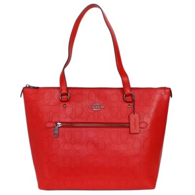 COACH紅色鐳射C Logo全皮前拉鍊袋肩背托特包