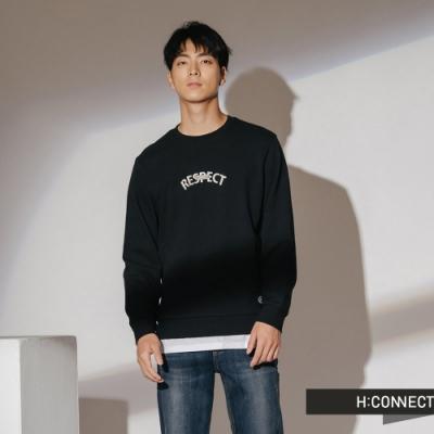 H:CONNECT 韓國品牌 男裝-假兩件字母大學T-黑
