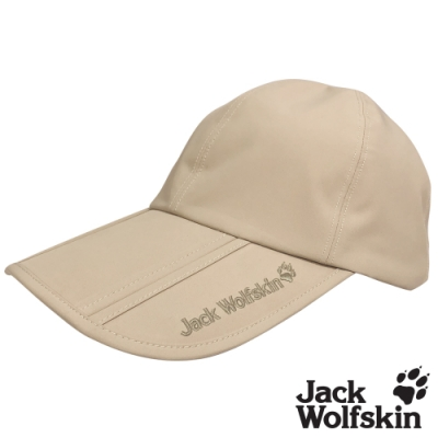 【Jack wolfskin 飛狼】Porelle 素色防水透氣可摺收三折帽 棒球帽『卡其』