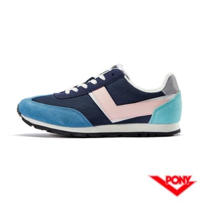 【PONY】SOHO系列復古慢跑鞋-女款-深藍色