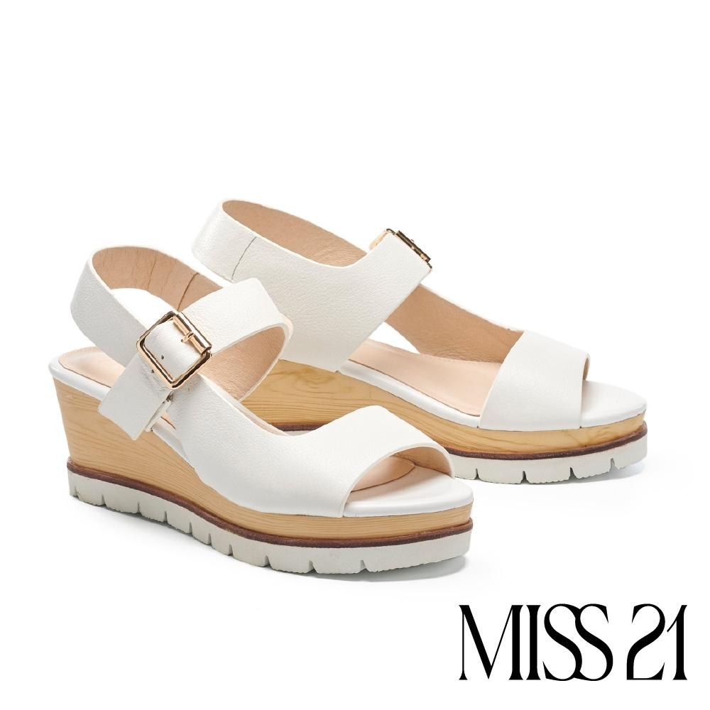 涼鞋 MISS 21 極簡線條剪裁設計楔型厚底涼鞋-米白