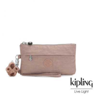 Kipling 復古蜜桃粉色手拿配件包-NIYLAH