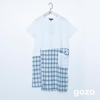gozo 恐龍貼布繡混編格紋拼接洋裝(二色)