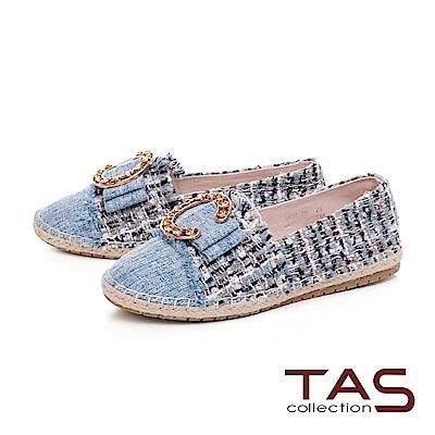 TAS 大C金屬不修邊拼接草編休閒鞋-牛仔藍
