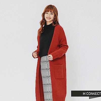 H:CONNECT 韓國品牌 女裝-雙口袋開襟針織外套-紅