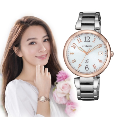 CITIZEN xC光動能閃耀時刻腕錶-銀X玫瑰金(EO1195-51A)33mm