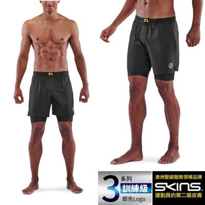 澳洲 SKINS 男款 3系列訓練級二合一壓縮短褲.緊身彈力褲.運動壓力褲_黑