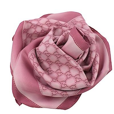 GUCCI 染織LOGO絲綢大方巾/披肩(粉紅)