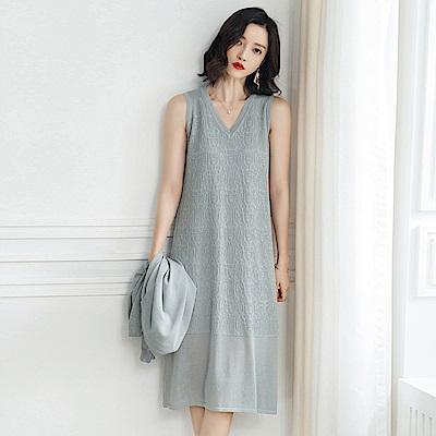 綻放  V領無袖針織洋裝-共5色-(M-XL可選)