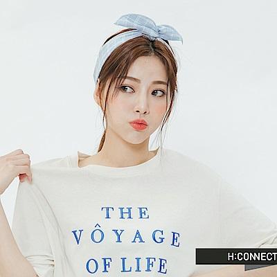 H:CONNECT 韓國品牌 -綁結格紋髮帶-藍