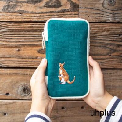 uhplus 森林系夾心收納包-跳遠選手 袋鼠(藍綠)