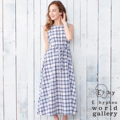 E hyphen 格紋圖案腰際綁帶連身背心洋裝