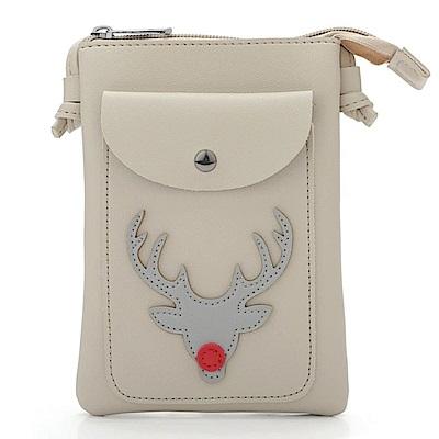 iSPurple 紅鼻子馴鹿 聖誕證件手機零錢側背包 米白