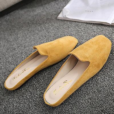 韓國KW美鞋館 輕柔樂活粉嫩平底拖鞋-黃色