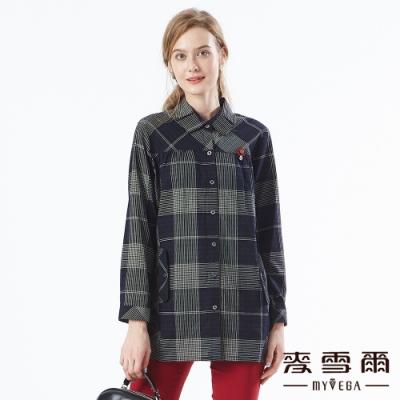 【麥雪爾】純棉格紋打摺翻領長版襯衫