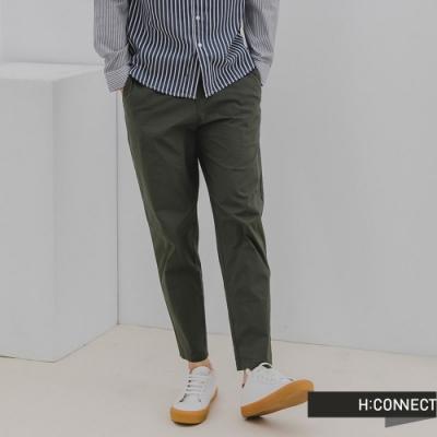 H:CONNECT 韓國品牌 男裝-素色亞麻抽繩Straight直筒褲-橄欖色