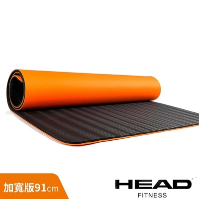 HEAD 專業瑜珈墊/運動墊加寬版91cm(黑橘)-12mm